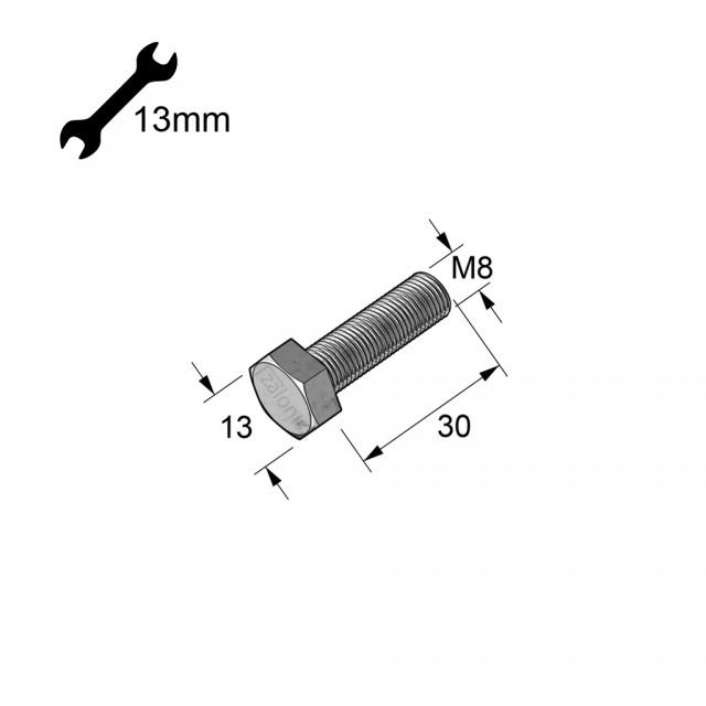 HEXAGON HEAD STEEL BOLT M8x30